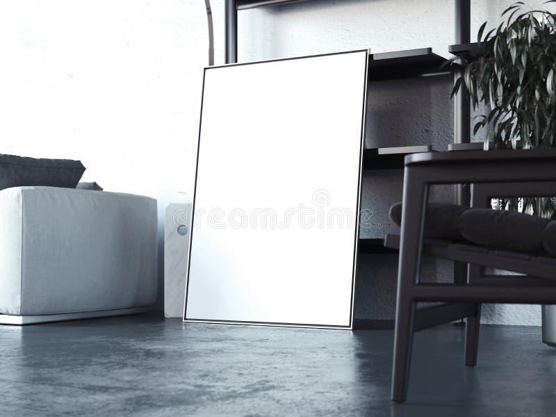 Pusty biały plakat na betonowej podłoga, 3d rendering ilustracja wektor