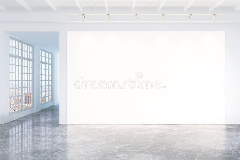 Pusty biały plakat na biel ścianie w pustym loft pokoju royalty ilustracja