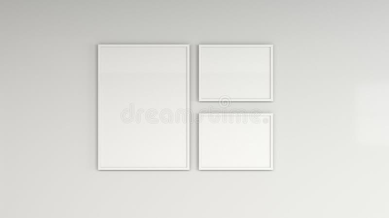 Pusty biały plakat w biel ramie na ścianie ilustracji