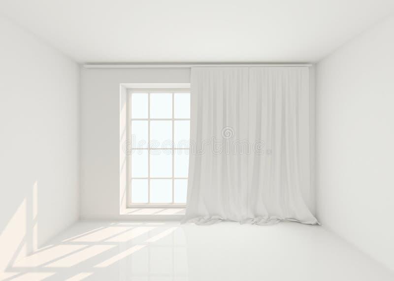Pusty biały pokój z okno i zasłonami Mockup, szablon 3 d czynią ilustracji