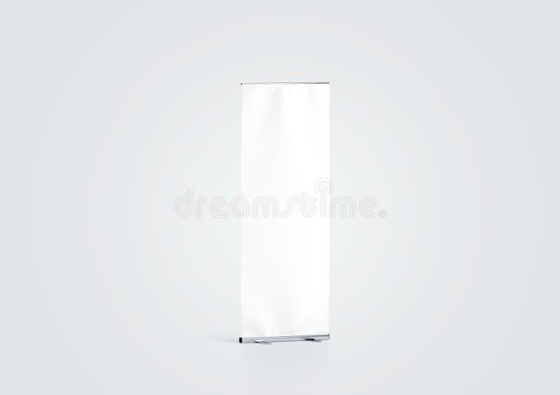 Pusty biały rolka sztandaru pokazu mockup, boczny widok, fotografia stock