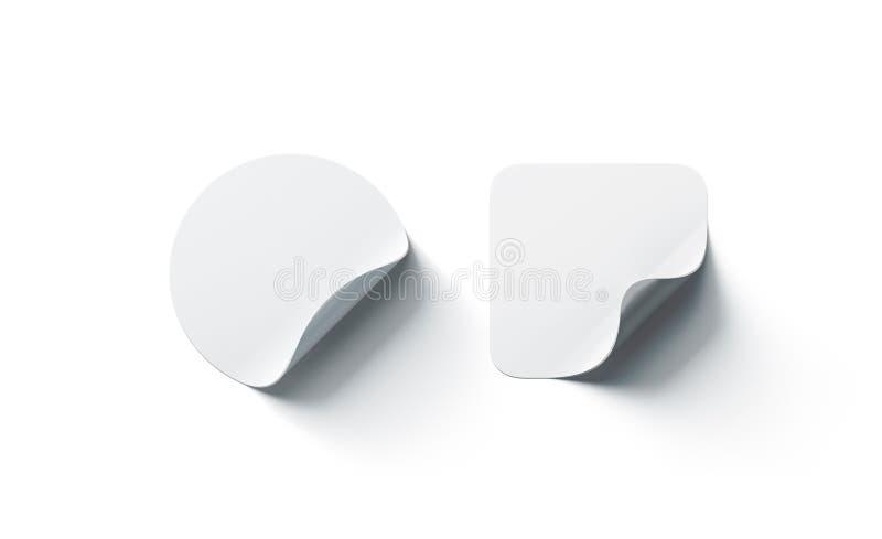 Pusty biały round i kwadratowy adhezyjny mockup wyginający się majcheru kąt, fotografia stock