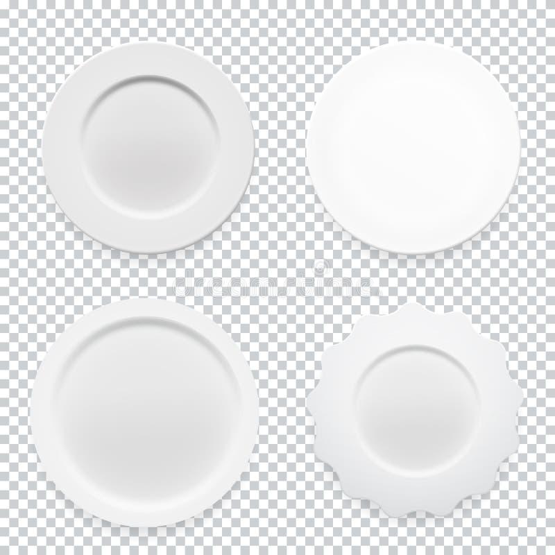 Pusty biały round talerza inkasowy ustawiający na przejrzystym tle dla twój projekta również zwrócić corel ilustracji wektora ilustracja wektor