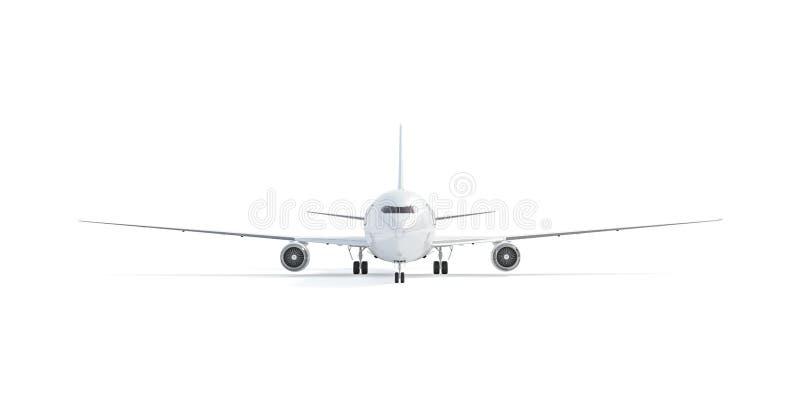Pusty biały samolotu egzamin próbny w górę stojaka, frontowy widok odizolowywający, ilustracji