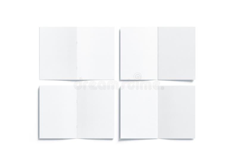 Pusty biały strony a5 broszury egzamin próbny up, stać na czele z powrotem stronę fotografia stock