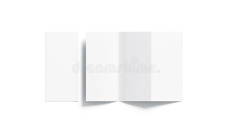 Pusty biały tri fałdowy broszury mockup otwierający i zamykający, zdjęcia stock