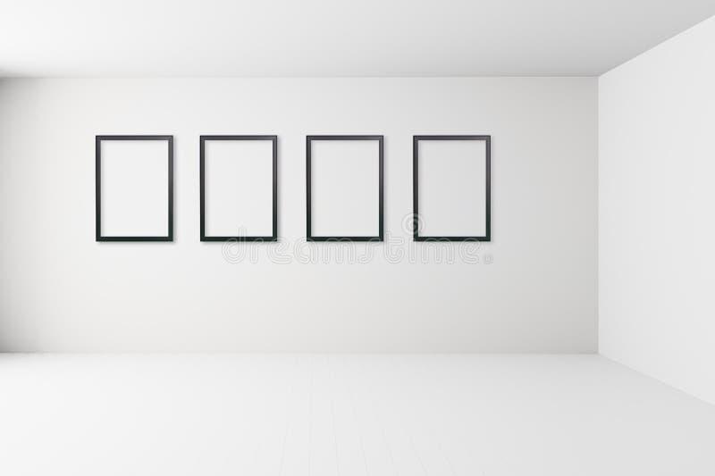 Pusty biały wewnętrzny pokój z obrazek ramą na ścianie, pustych białych ścianach narożnikowych i białym drewnianym podłogowym rów ilustracji