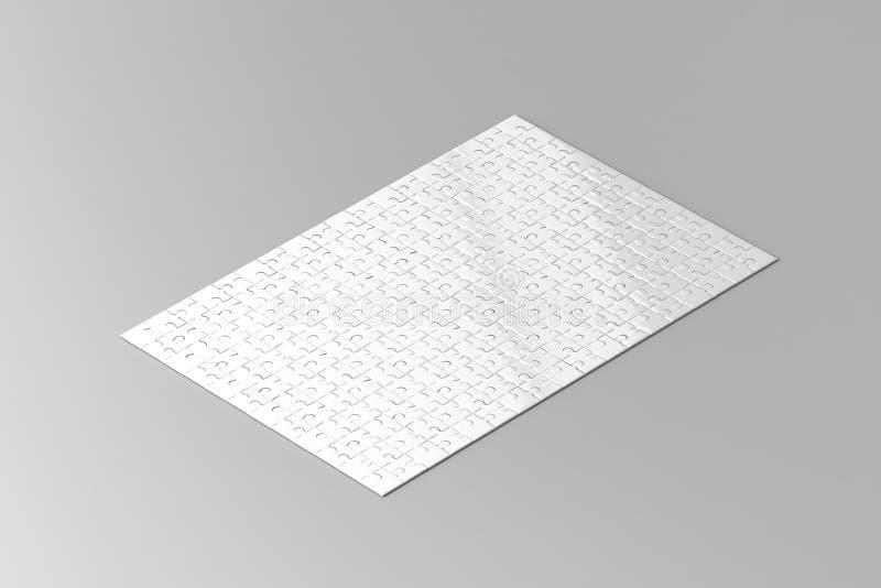 Pusty biały wyrzynarki łamigłówki gemowy mockup, isometric widok zdjęcia royalty free