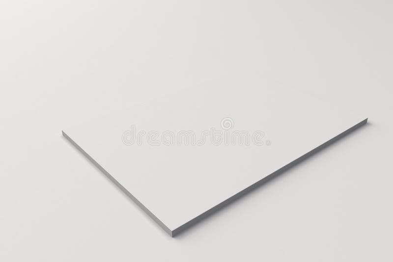 Pusty biały zamknięty broszurka egzamin próbny na białym tle royalty ilustracja