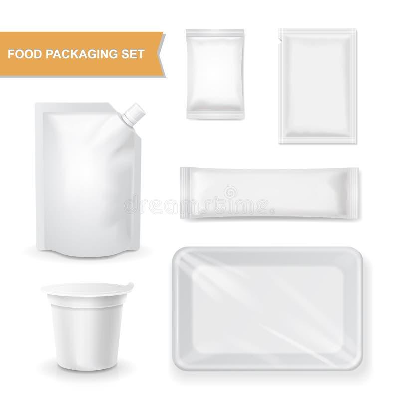 Pusty biel pakuje realistycznego set dla przekąski jedzenia royalty ilustracja