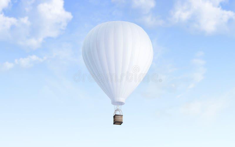 Pusty bielu balon z gorącego powietrza mockup na nieba tle royalty ilustracja