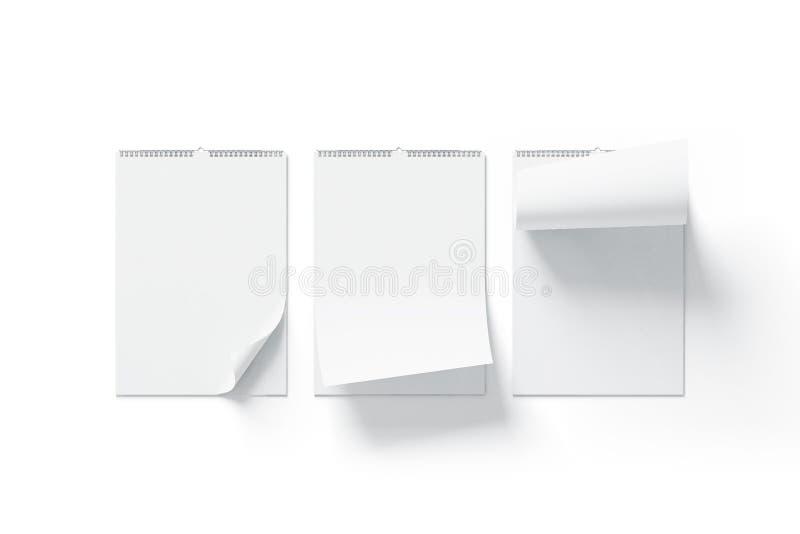 Pusty bielu kalendarza egzamin próbny up - frontowy widok, wyginający się kąty ustawia, ilustracji