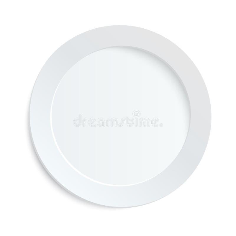 Pusty bielu talerz na białym tle ilustracja wektor