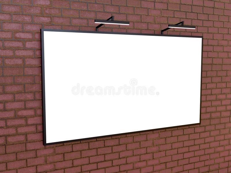 Pusty bigboard na ściana z cegieł, 3D rendering ilustracja wektor