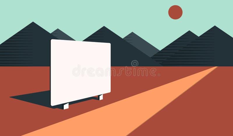 Pusty billboard w pustyni royalty ilustracja