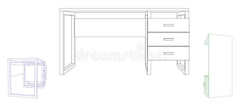 pusty biurka biuro Wektorowa kontur ilustracja ilustracji