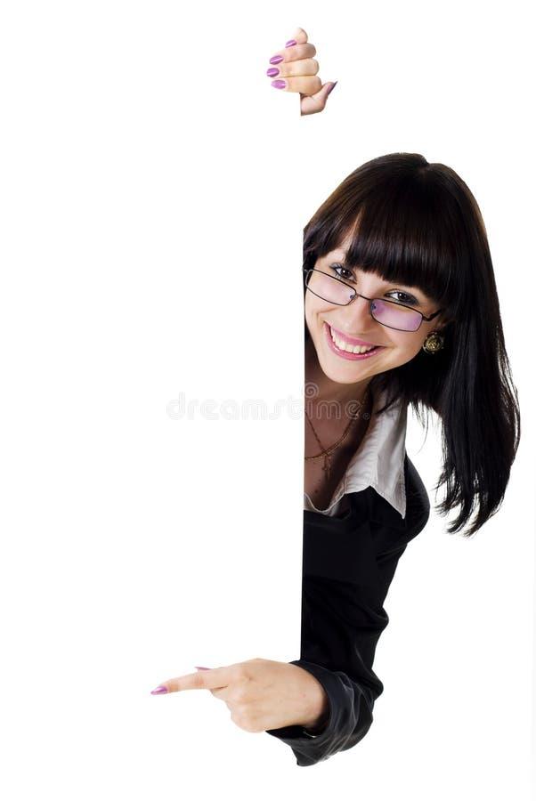 pusty bizneswomanu mienia znak zdjęcia stock