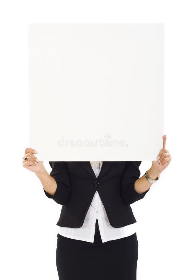 pusty bizneswomanu mienia znaka biel zdjęcia royalty free