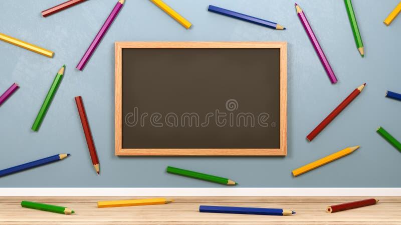 Pusty Blackboard i Kolorowi ołówki w pokoju royalty ilustracja