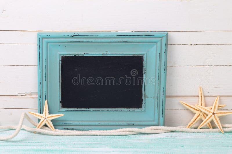 Pusty blackboard i morskie rzeczy fotografia royalty free
