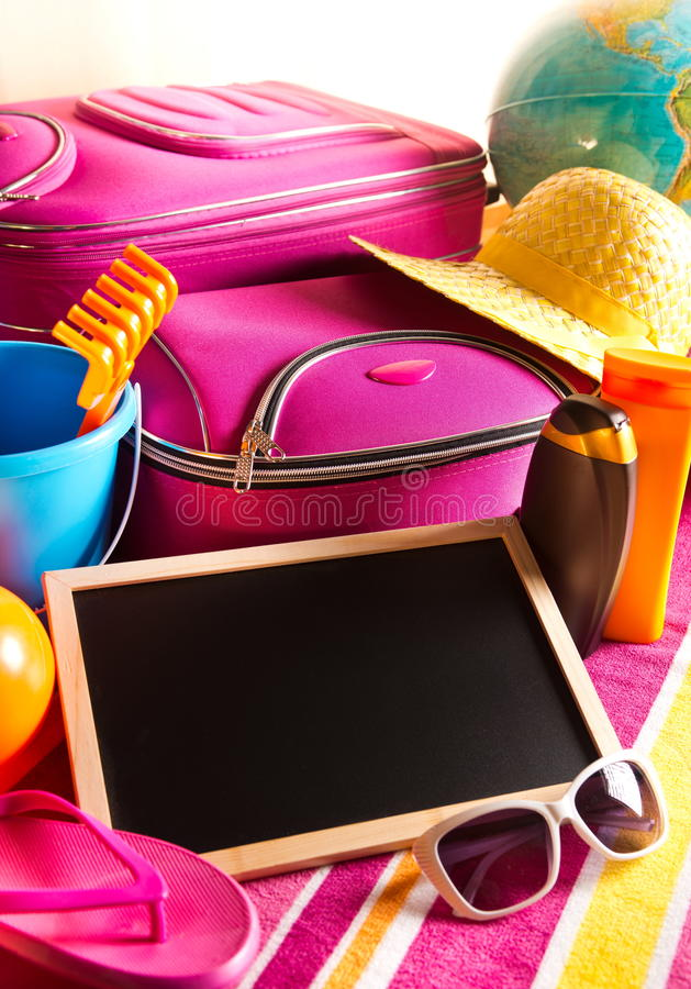 Pusty blackboard na wakacje letni tle obraz royalty free