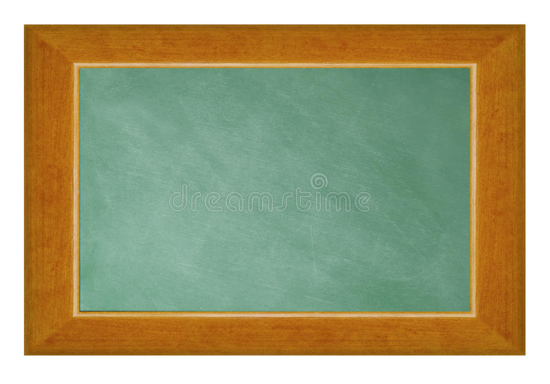 Pusty blackboard z drewno ramą odizolowywającą na bielu obraz royalty free