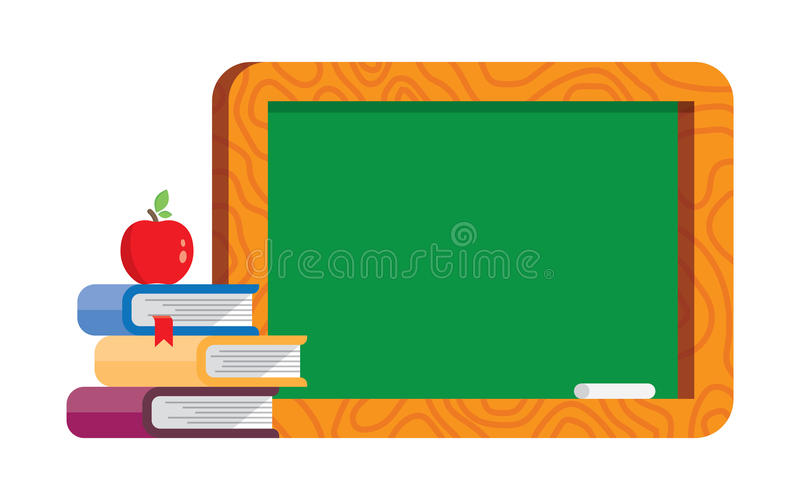 Pusty blackboard z książkami i jabłkiem royalty ilustracja