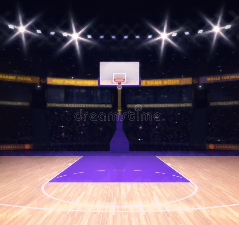 Pusty boisko do koszykówki z widzami i światłami reflektorów royalty ilustracja