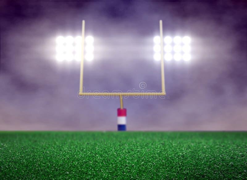 Pusty boisko piłkarskie i światło reflektorów z dymem ilustracji