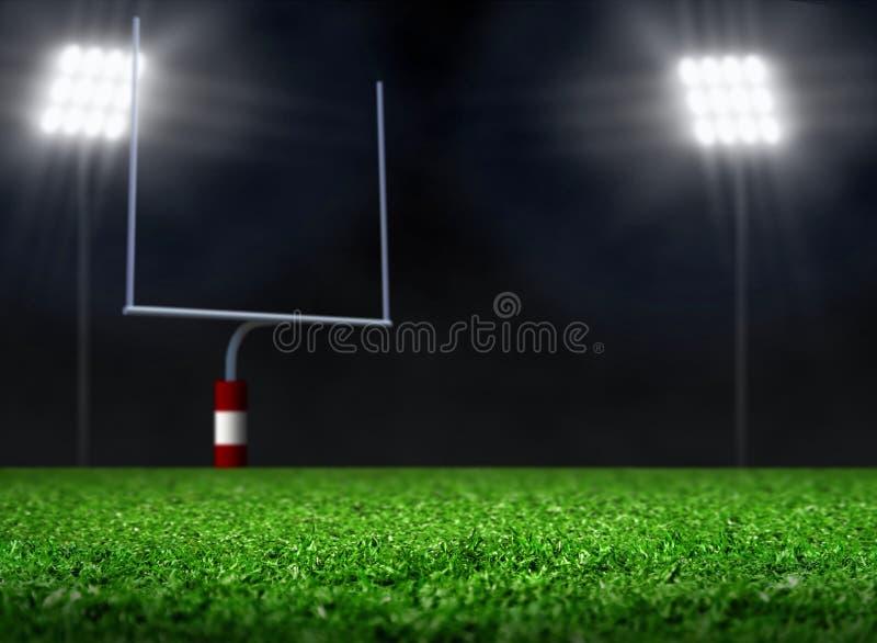 Pusty boisko piłkarskie z światłami reflektorów royalty ilustracja