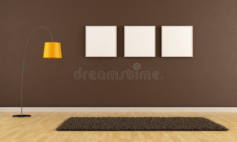 Pusty brown żywy pokój ilustracja wektor