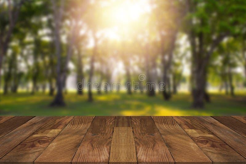 Pusty brown drewniany stół i rozmyty las zdjęcie royalty free