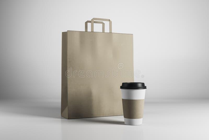 Pusty brown torba na zakupy i kawa ilustracja wektor