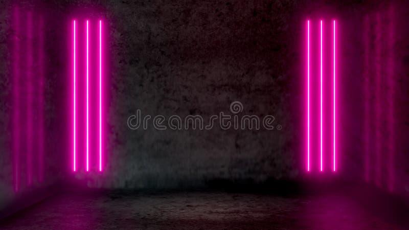 Pusty ciemny abstrakcjonistyczny pokój z różowymi fluorescencyjnymi neonowymi światłami royalty ilustracja