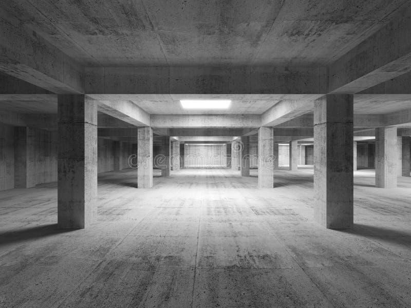 Pusty ciemny abstrakcjonistyczny przemysłowy betonowy wnętrze 3d ilustracji