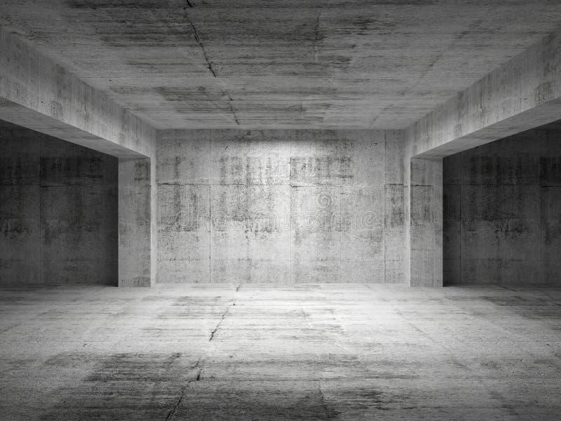Pusty ciemny abstrakta betonu pokój ilustracja wektor