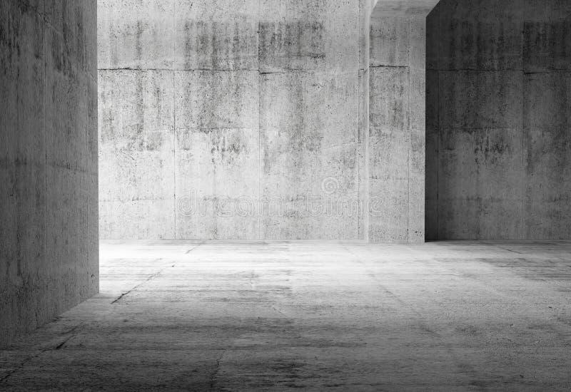 Pusty ciemny abstrakta betonu pokoju wnętrze royalty ilustracja