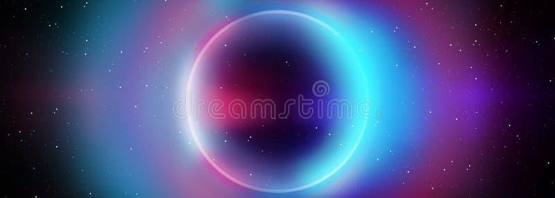 Pusty Ciemny Futurystyczny Sci Fi Hall Duży pokój Z światłami I okręgu Kształtnym Neonowym światłem Ciemny neonowy tło royalty ilustracja