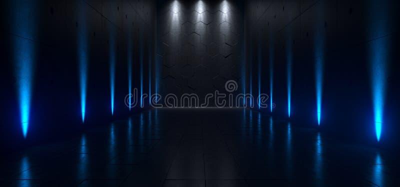 Pusty Ciemny Futurystyczny Sci Fi Hall Duży pokój Z światłami I Refel ilustracja wektor