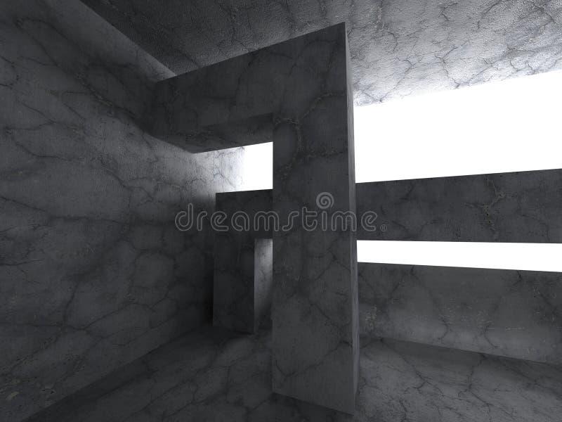 Pusty ciemny piwnica betonu wnętrze Abstrakcjonistyczny architektury Bac ilustracja wektor