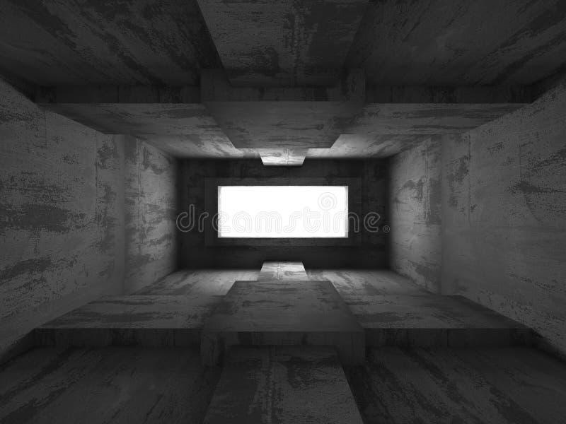 Pusty ciemny piwnica betonu wnętrze Abstrakcjonistyczny architektury Bac royalty ilustracja