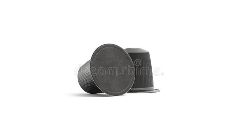 Pusty czarnej kawy kapsuły lying on the beach egzamin próbny w górę, odizolowywający, frontowy widok, ilustracja wektor
