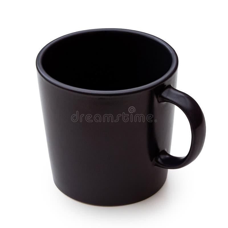 Pusty czarny ceramiczny kubek odizolowywający na bielu zdjęcie royalty free