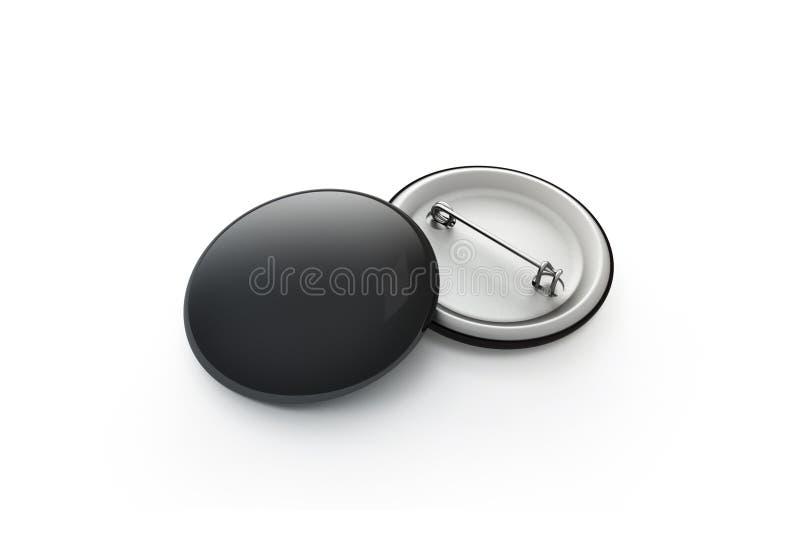 Pusty czarny guzik odznaki sterty mockup, odizolowywający, ścinek ścieżka, ilustracji