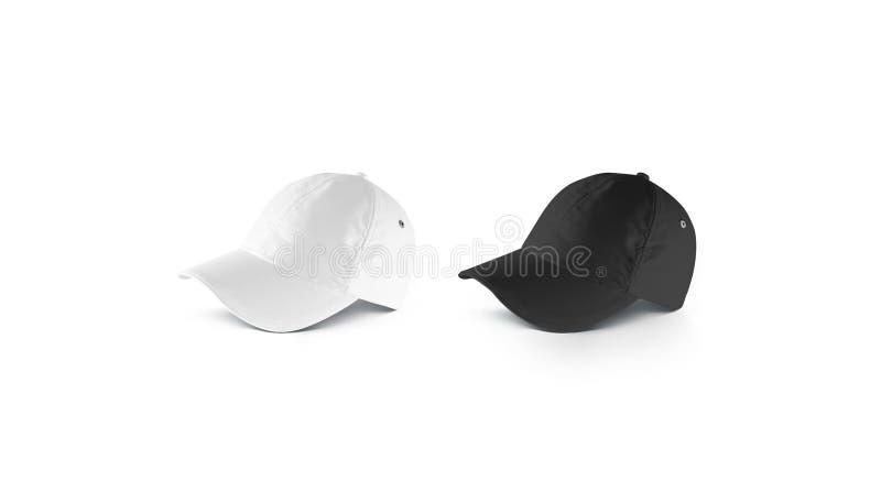Pusty czarny i biały łgarski baseball nakrętki mockup set, boczny widok obrazy royalty free
