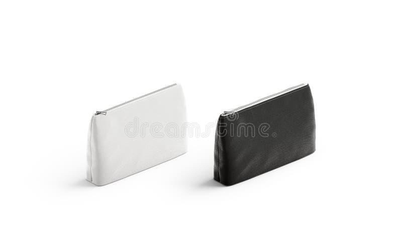 Pusty czarny i biały brezentowy kieszonki mockup set, odizolowywający royalty ilustracja