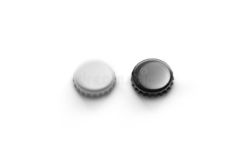 Pusty czarny i srebny piwny pokrywkowy mockup, odgórny boczny widok, ilustracji