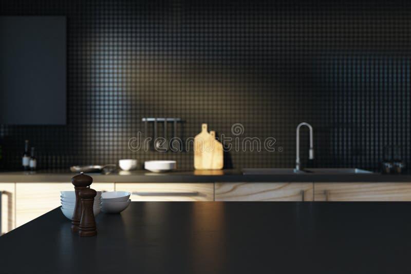Pusty czarny kuchenny kontuar royalty ilustracja