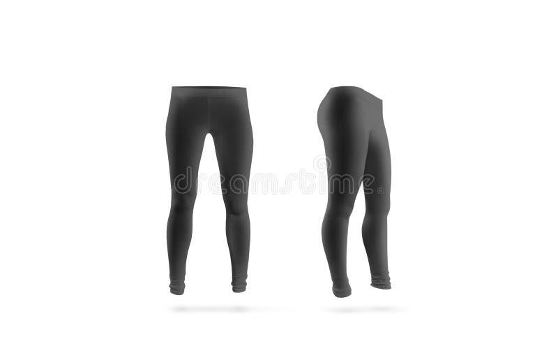Pusty czarny leggings mockup, frontowego i bocznego widok, odizolowywający obrazy stock