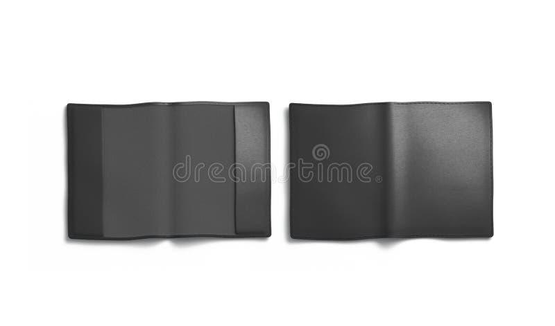 Pusty czarny paszport pokrywy mockup, przód i plecy odizolowywający, obrazy royalty free